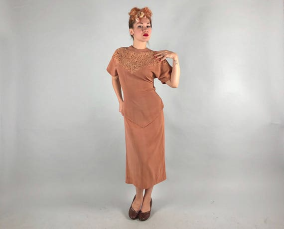 1940s Toffee Brown Cocktail Dress | Vintage 40s Rayon Crepe Evening Dress with Peplum Skirt and Lace Inset | Medium