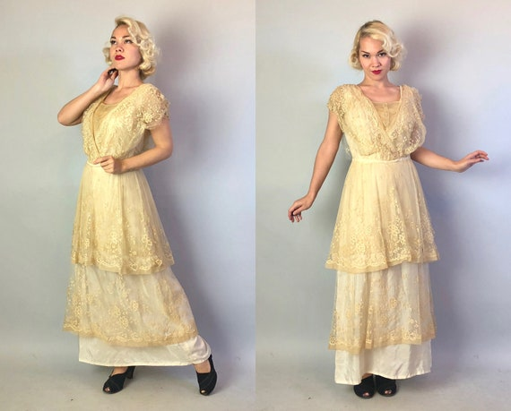 Vintage Late 1800s Dress | Victorian Edwardian Belle Epoque Ecru Ivory White Silk Tea Garden Gown with Tiered Floral Lace Overlay | Large