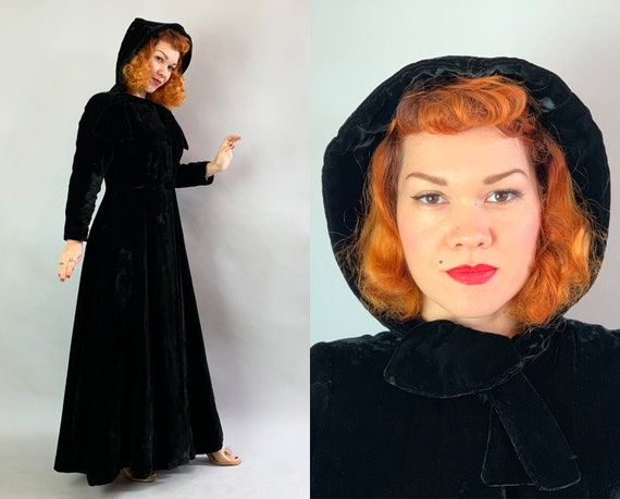 1930s Noir Hooded Opera Coat | Vintage 30s Black Rayon Velvet Cloak with Purple and Chartreuse Lining Self Fabric Neck Tie and Hood! | Small