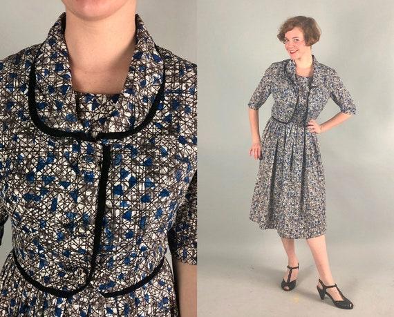 1950s Atomic Rayon Dress Set   Vintage 50s Geometric Mid Century Print Day Dress and Bolero Jacket Blue Black Grey Gray White   Medium