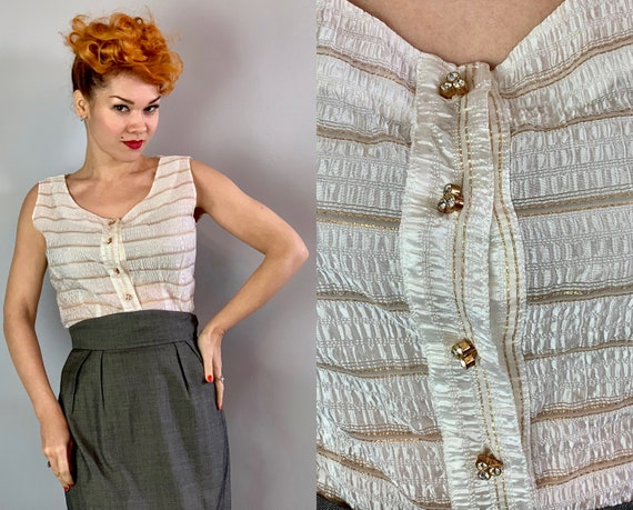 1950s Shimmery Blouse | Vintage 50s White Semi Sheer Puckered Sleeveless Top w/Metallic Gold Pinstripes & Rhinestone Gold Buttons | Medium