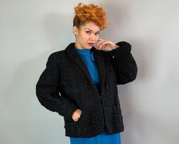 1950s Curly Persian Lamb Coat   Vintage Midcentury 50s Jet Black Fur Jacket with Shawl Collar, Cuffed Sleeves, and Pockets!   Medium-ish
