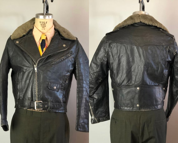 1950s The Wild One Motorcycle Jacket | Vintage 50s Black Leather Biker Coat with Detachable Sheepskin Collar and Back Studs | Medium