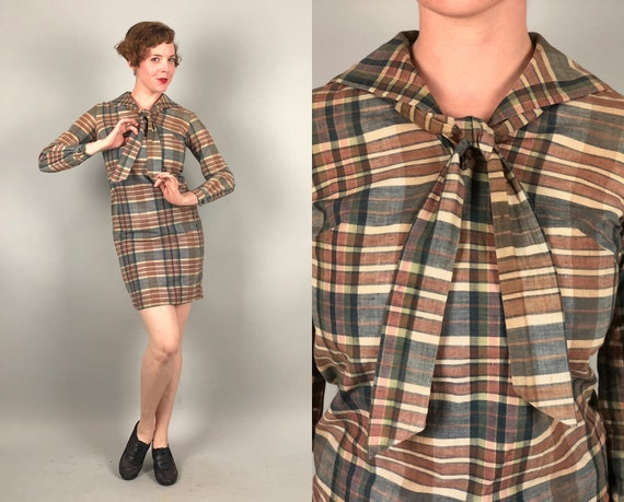 1920s 1930s Dress | Vintage 20s 30s 'Woolf Brothers' Colonial Blue, Cream Ivory White, and Light Rust Brown Madras Plaid Shift Dress | Small