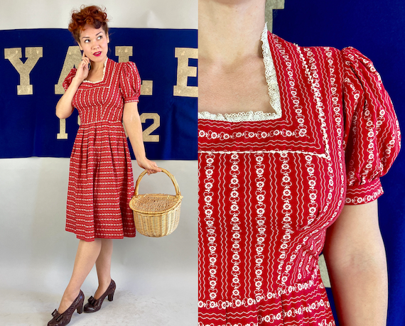 1930s Valentine Valerie Dress | Vintage 30s Lipstick Red White Heart and Flower Print Cotton Twill Frock with Puff Sleeves and Lace | Small