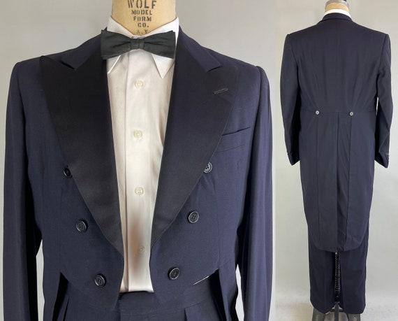 1950s Putting On the Ritz Tails Tux   Vintage 50s Midnight Blue Wool Tuxedo Tailcoat Suit Silk Peak Lapels Satin Stripes   Size 41 Large