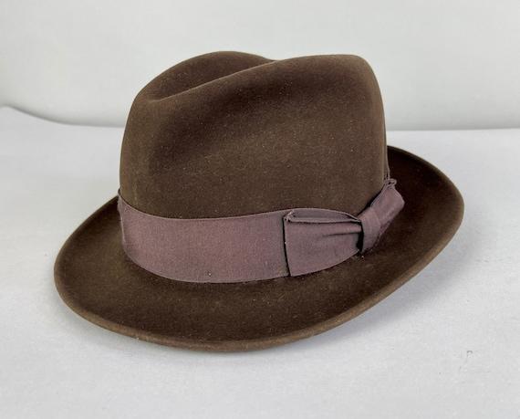 "1950s Fashionable Fedora | Vintage 50s Chocolate Brown Fur Felt Mens Hat Cedar Brown Grosgrain Ribbon Band ""Biltmore"" | Size 7 Small/Medium"
