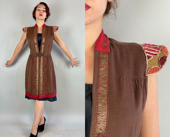 1920s Tantalizing Tabard | Vintage 20s Brown + Red Wool Jacket w/Epaulets Baubles Beads Sequins Gold Lamé & Metal Embroidery | Medium Large