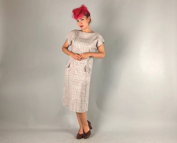 1960s Style Shift Dress | 80s does 60s Dove Gray and Pink Plaid Button-Back Dress with Functional Flap Pockets by 'I Magnin'! | Large
