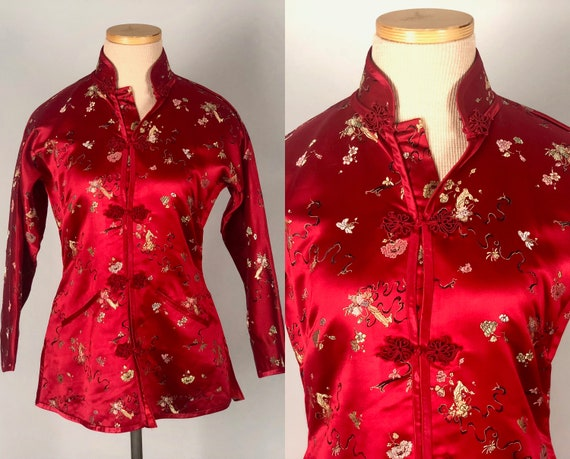 Vintage 1950s Jacket | 50s Scarlet Red Silk Satin Cheongsam-Style Top with Floral Embroidery and Frog Closures & Pockets | Extra Small XS