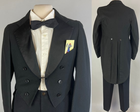 1930s Fred Astaire Tails Tux | Vintage 30s Black Wool Tailcoat Tuxedo Evening Suit with Silk Lapels and NRA Label | Size 34 Small