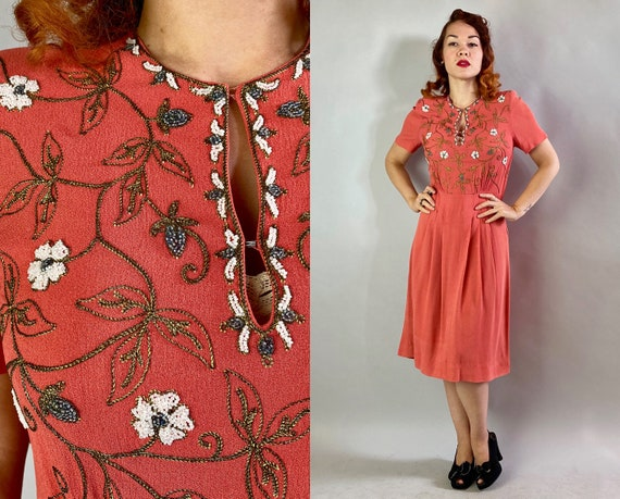 1940s Beguiling Beaded Dress   Vintage 40s Coral P