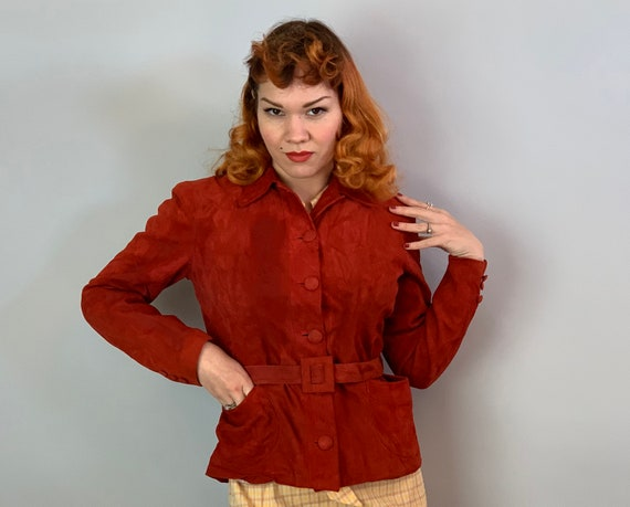 "1940s Sassy in Suede Jacket | Vintage 40s Crimson Red Leather Short Coat w/Slide Belt Patch Pockets and Self Buttons by ""Gazelda"" 