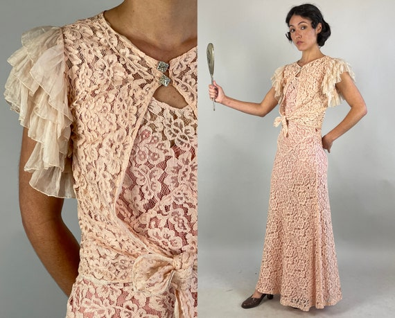 1930s Lucy in Lace Gown Set | Vintage 30s Blush Pink Curve Hugging Bias Cut Evening Dress with Ruffle Sleeve Bolero Jacket | Extra Small XS