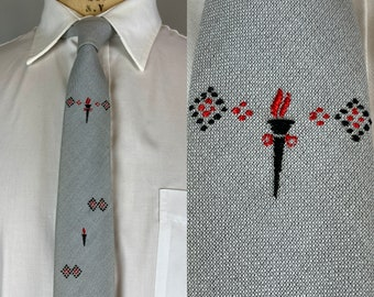 """1950s Olympian Torch Necktie 