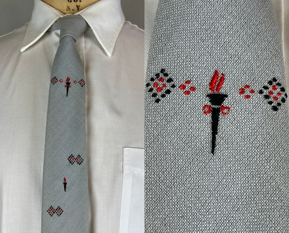 """1950s Olympian Torch Necktie   Vintage 50s Dove Grey """"Palm Beach"""" Cotton Mohair Rayon Self Tie by """"Beau Brummell"""" w/Red and Black Embroidery"""