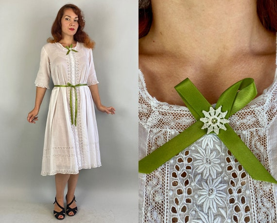 1910s Lovely Lady Lawn Dress | Vintage Antique Edwardian Teens Sheer White Cotton with Lace Insets and Green Ribbon Lingerie Frock | Small