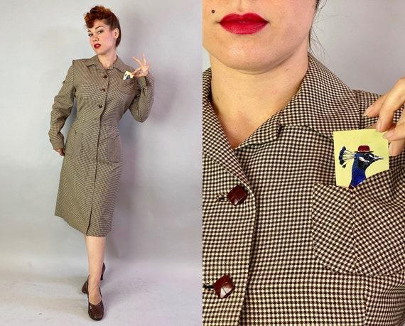 1950s Gene's Gingham Dress | Vintage 50s Brown & W