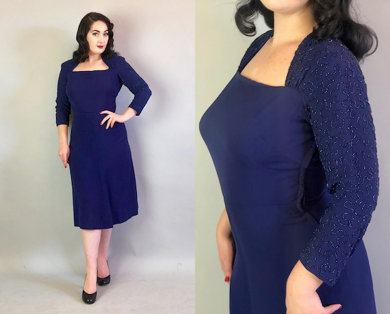 "Vintage 1940s Dress | 40s Midnight Blue Rayon Cocktail Evening Dress w/A-Line Neckline & Oil Slick Swirling Beadwork by ""Bullocks"" 