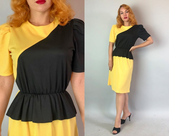 1940s Style Color Block Dress | Vintage 80s Does 40s Sunny Yellow and Black Peplum Dress with Puffed Shoulders | Small Medium Large