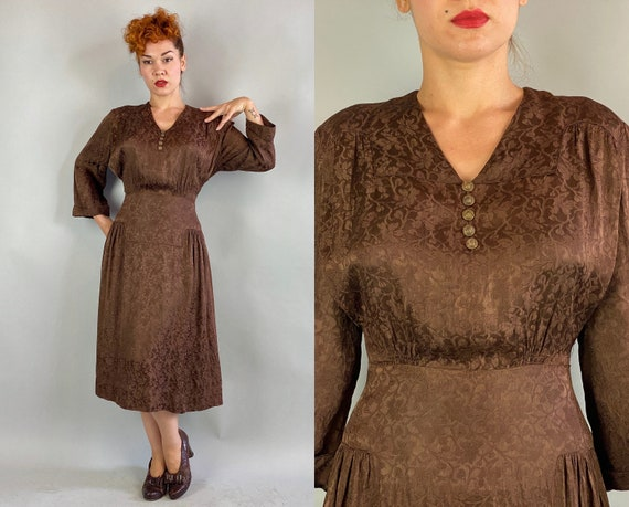1940s Sophisticated Sophie Frock | Vintage 40s Chocolate Brown Rayon Brocade Day to Night Dress with Brass Buttons | XL Extra Large Volup