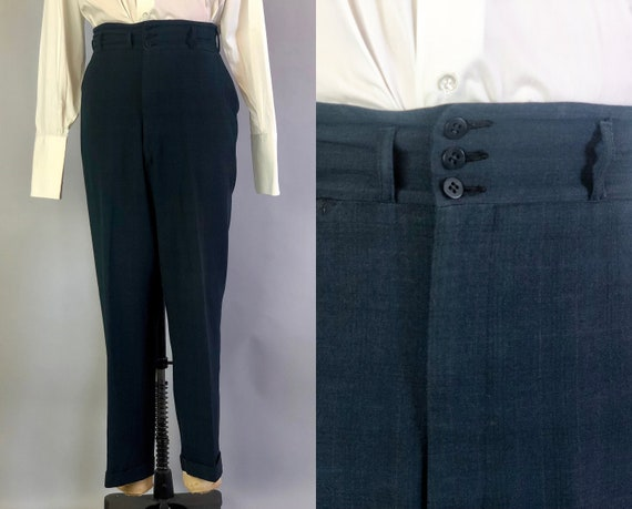 1930s Mens Collegiate Trousers | Vintage 30s Dark Teal Blue Wool Pants w/3 Button Waistband & Dropped Tall Belt Loops | 31x29.5 Medium