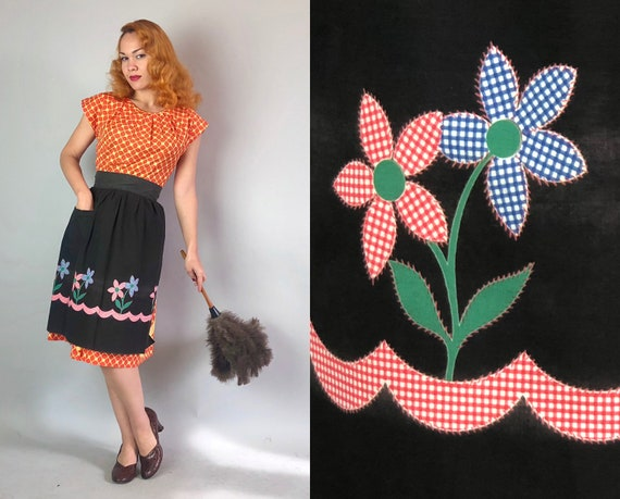 1940s Apron | Vintage 40s Housewife Black Cotton Half Apron with Blue White Red and Green Gingham Flower and Wave Print and Patch Pocket