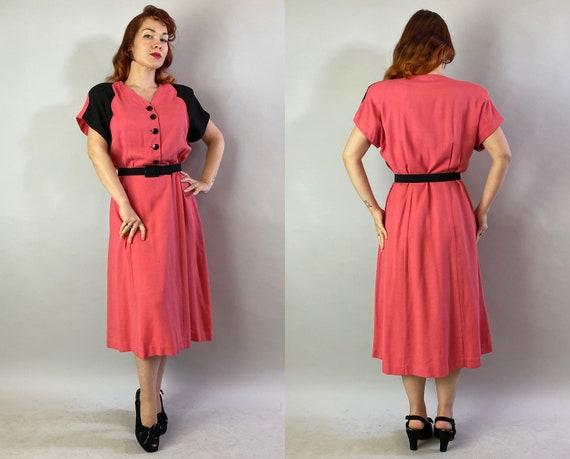 1940s Color Block Cutie Dress | Vintage 40s Coral… - image 9