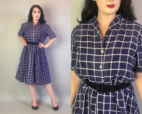 1940s Cotton Voile Frock | Vintage 40s Sheer Midnight Blue with White Windowpane and Dot Pattern Shirtwaist Day Dress Volup | Extra Large XL