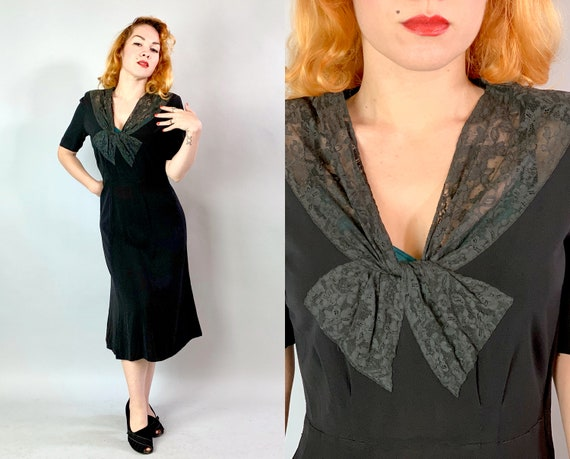 1940s Bow Neckline Dress | Vintage Early 40s Gorgeous Black Rayon Crepe Day to Cocktail Evening LBD w/ Sheer Lace & Short Sleeves | Medium