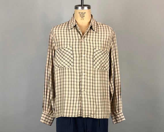 Vintage 1940s 1950s Mens Shirt | 40s 50s Rayon Cream Black & Grey Gray Plaid Square Cut Camp Shirt with Top Loop  | Extra Large XL