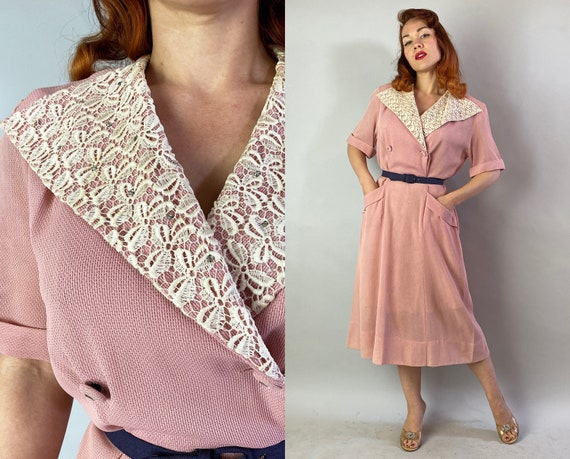 1940s Sweet Susie Day Dress | Vintage 40s Peony Pink Semi Sheer Dress w/White Lace Collar, Rhinestones & Two Pockets! | XL Extra Large Volup