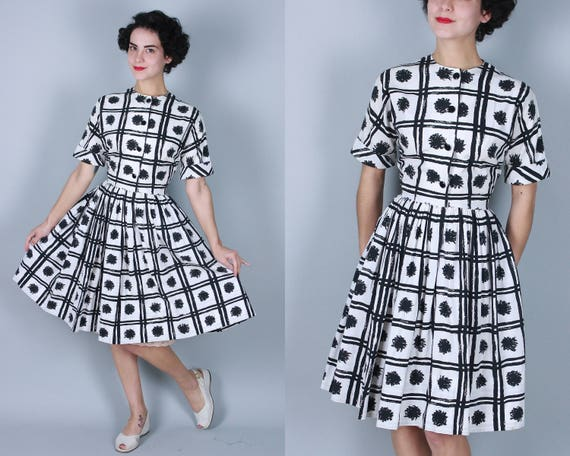1950s Novelty Print Frock | Vintage 50s Black and White Cotton Day Dress with Artist Paint Stroke Plaid and Scribble Dot | Medium