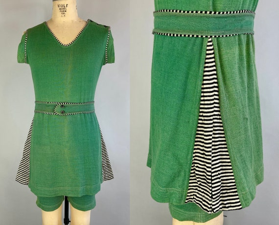 1930s Bewitching Bathing Suit | Vintage 30s Deco Green Wool Knit Swimsuit Swimwear with Black & White Striped Trim! | Large/Extra Large XL