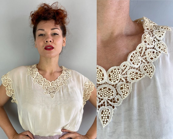 1940s Grape Granduer Blouse   Vintage 40s White Sheer Rayon Chiffon Shirt Top with Bauble Lace Leaf Vine Trim and Pearl Buttons   Large