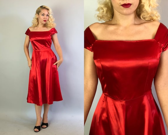 Vintage 1950s Dress   50s Scarlet Red Liquid Rayon Satin Cocktail Evening Noir Dress with Wide Square Neckline and Cap Sleeves   Medium