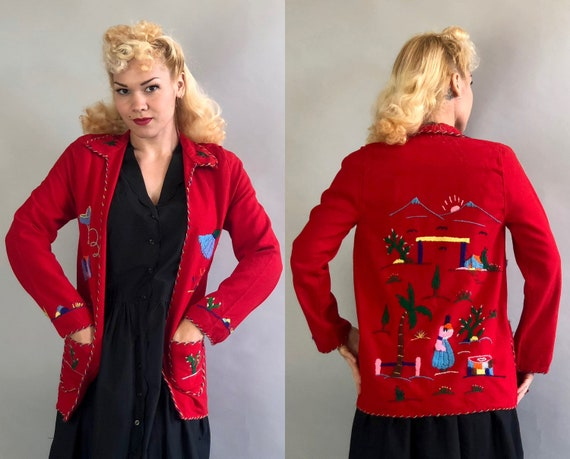 1940s Mexican Tourist Jacket   Vintage 40s Lipstick Red Lana Wool Felt Coat with Multi Color Embroidery of Village Scenes   Extra Small XS