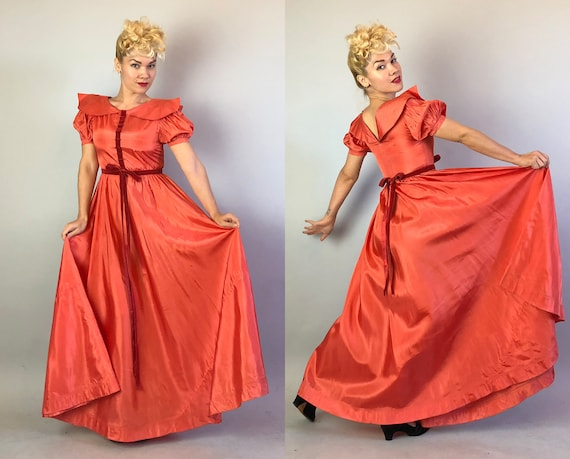 1930s Coral Silk Taffeta Evening Gown | Vintage 3… - image 4