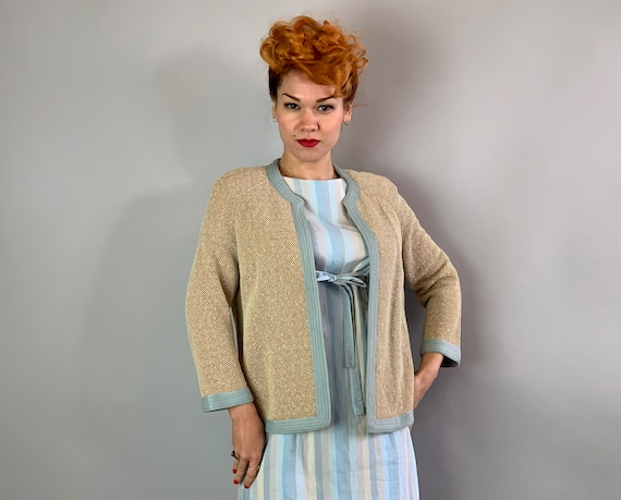 """1960s Moss Knit Cardigan 