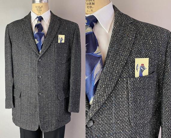 1950s Electric Blue Flecked Grey Blazer | Vintage 50s Men's Gray Sport Coat Jacket with Blue Windowpane | Size 42-44 Large/Extra Large XL