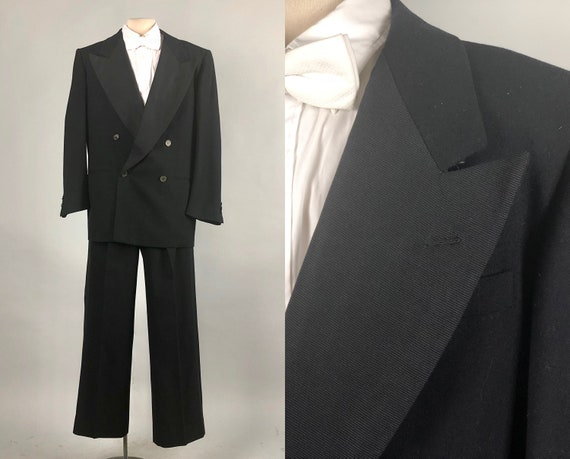 Vintage 1940s Tuxedo | 40s Excellent Black Wool Double-Breasted Tux Evening Suit with Extra Wide Silk Faille Peaked Lapel | Size 40 Medium
