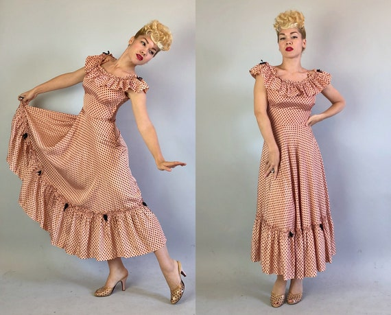 "Vintage 1930s Dress | 30s Silk Pink & Black Polka Dot Formal Party Cocktail Evening Gown w/ Ruffles 'Miss Hollywood Jr."" Dated 1935! 