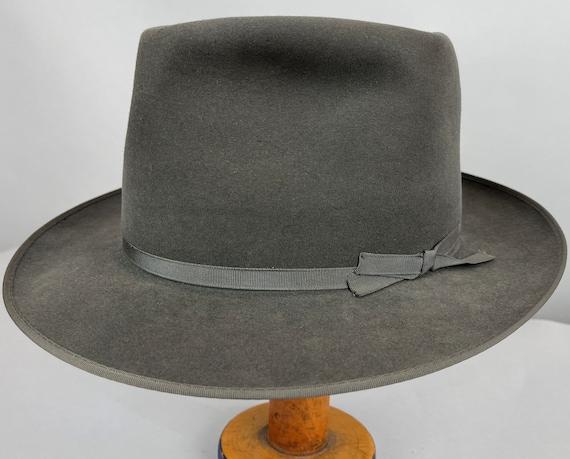 "1950s Stylish ""Stetson"" Fedora | Vintage 50s Pewter Grey Fur Felt Mens Hat with Narrow Grosgrain Ribbon Band | Size 7 1/8 Medium"