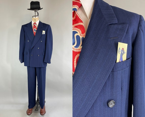 1940s Blue Moon Suit | Vintage 40s Midnight Blue Wool with Cobalt Stripe Peak Lapel Double Breasted Jacket & Pants | Size 44 Extra Large