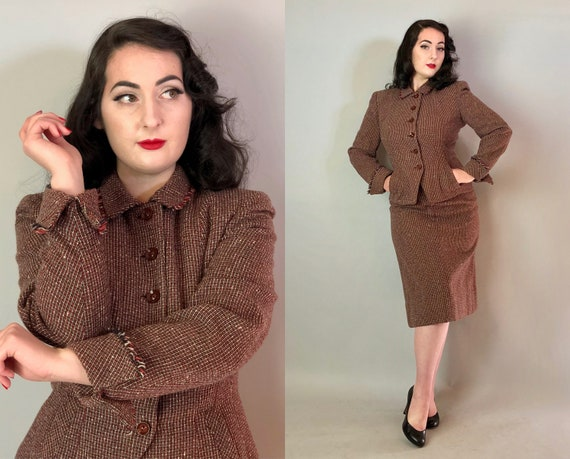 1940s Wool Fringe Suit | Vintage 40s Red, Black, and White Plaid Pencil Skirt and Blazer Set w/ Fantastic Buttons & Unique Collar | Medium