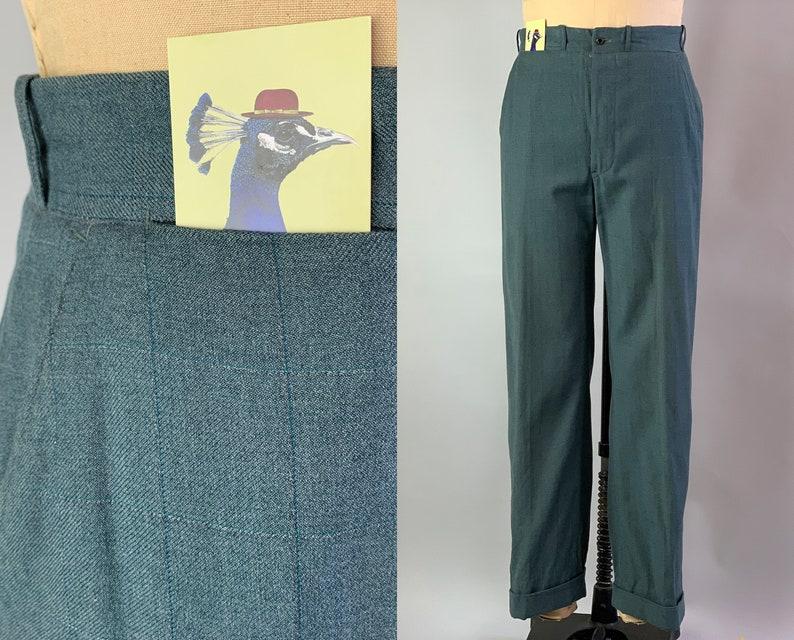 1930s Dandy Dave Trousers  Vintage 30s Grey Green Wool Slacks image 0