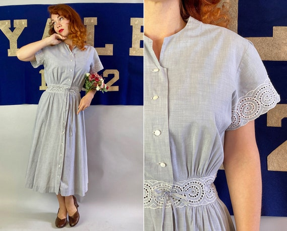 1940s Darling Donna Dress   Vintage 40s Palest Slate Blue Grey Cotton Button Up Frock w/ White Eyelet Embroidery & Drawstring Waist   Medium