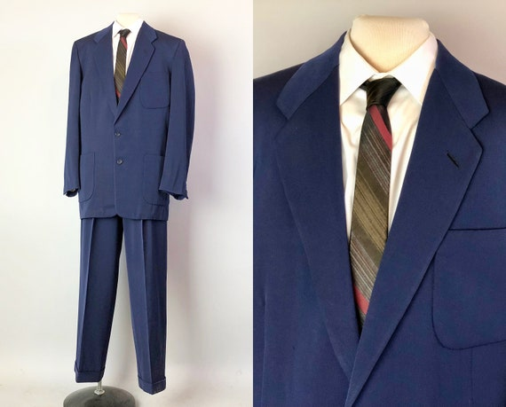 "1950s Royal Blue Men's Suit | Vintage 50s Wool Suit Single Breast Jacket & Pleated Trousers by ""Hart, Schaffner, and Marx"" 