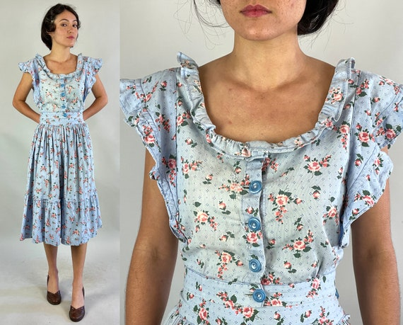 1930s Sassy Summer Play Set | Vintage 30s Two Piece Sky Blue Pink Rose Print Ruffled Button Up Crop Top and Gathered Skirt | Extra Small XS