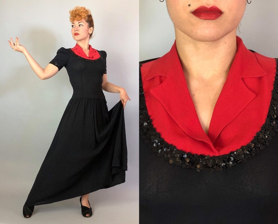 1940s Color Block Cutie Gown | Vintage 40s Two Tone Tomato Red and Black Evening Dress with Notched Lapels and Sequin Trim | Small